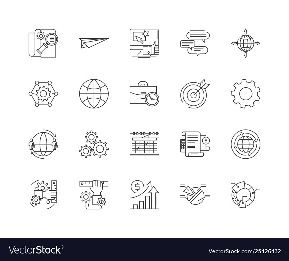 Data center line icons signs set outline