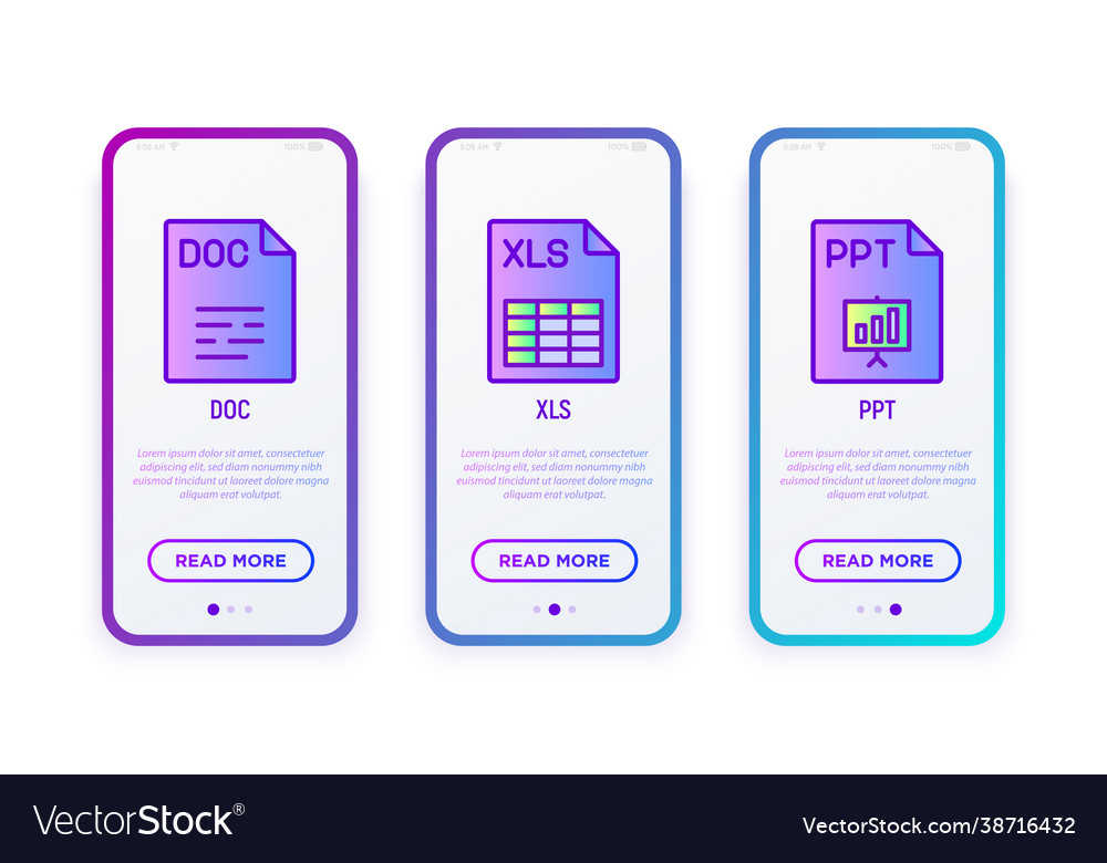 File formats thin line icons set doc xls ppt