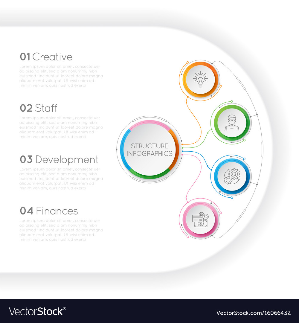 Infographics template with a four structure