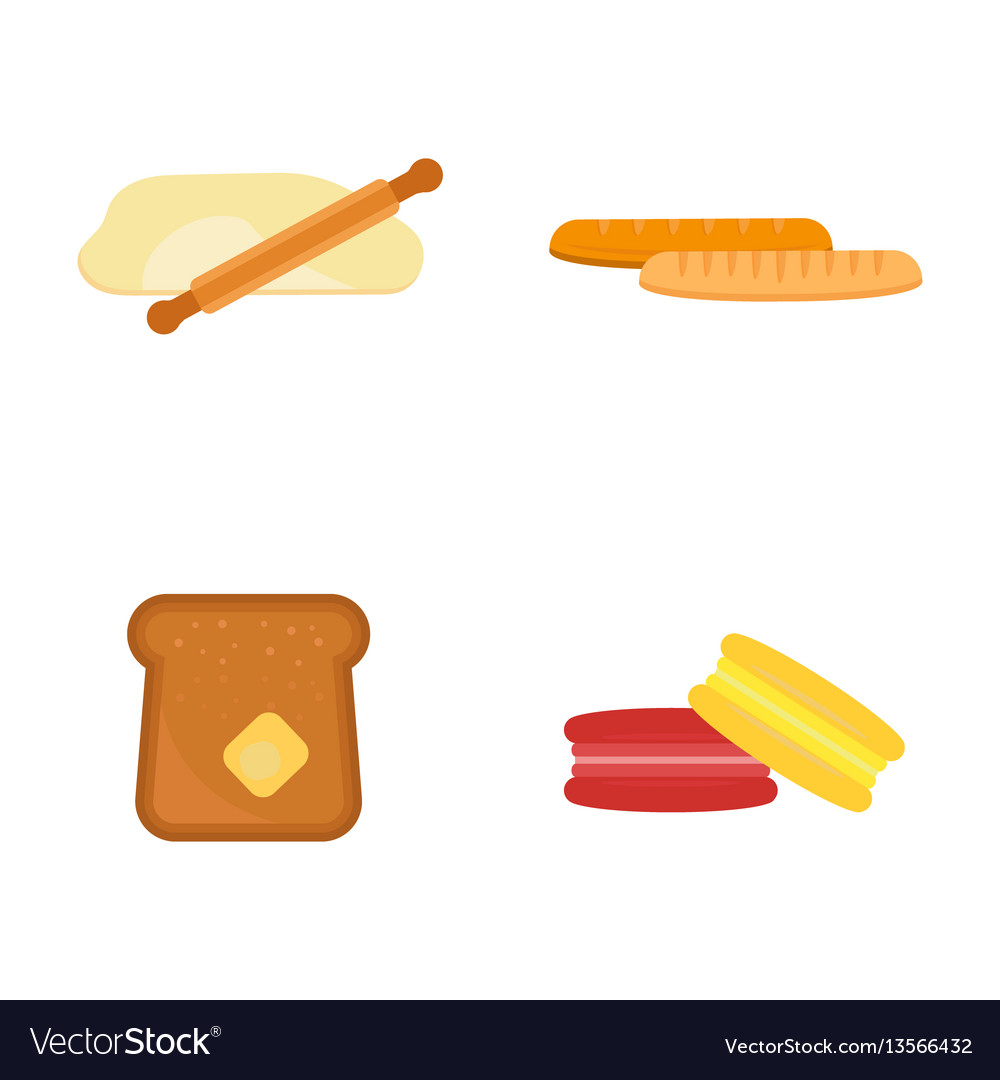 Macaroon fresh baked bread products icons