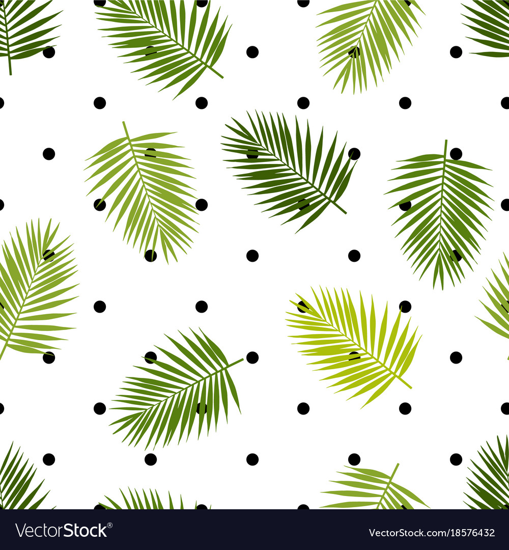 Palm leaf silhouettes and polka dot seamless vector image