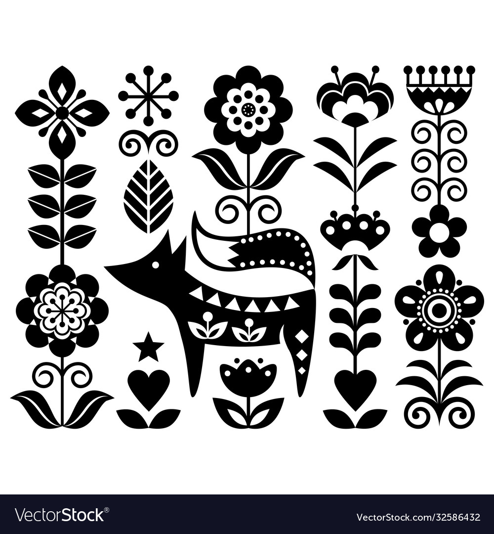 Scandinavian cute monochrome folk design