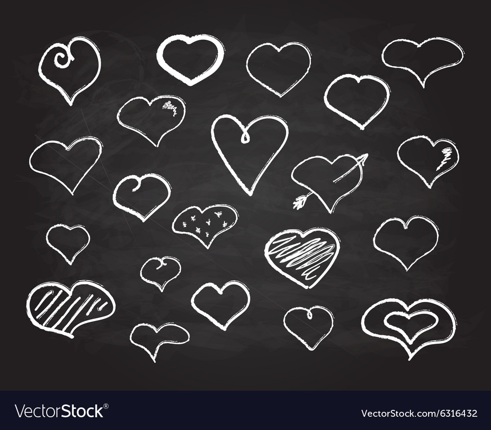 Scribble chalk heart icons set