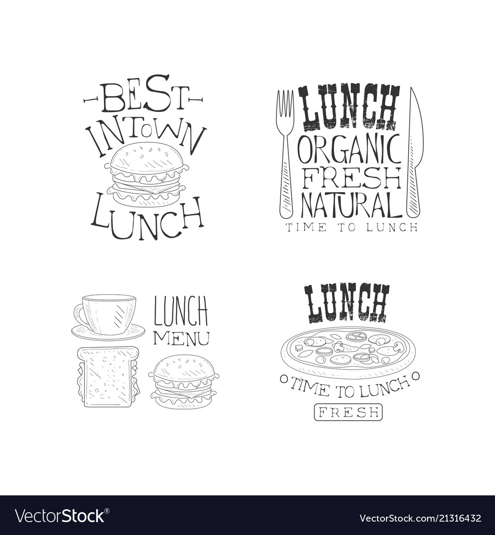 set of hand drawn lunch logo templates royalty free vector