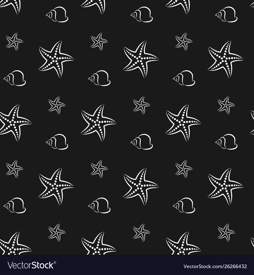 Starfish and shell pattern seamless