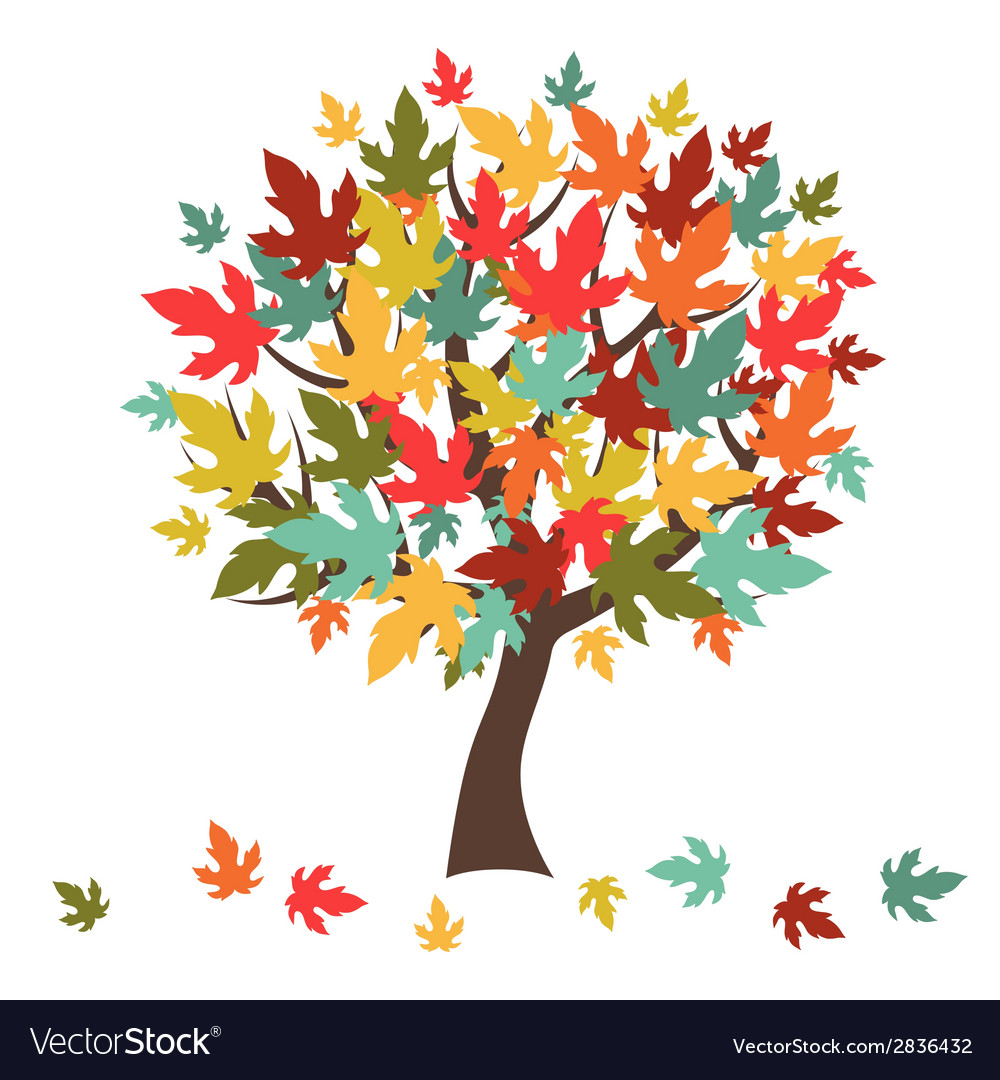 Stylized Autumn Tree With Falling Leaves Vector Image