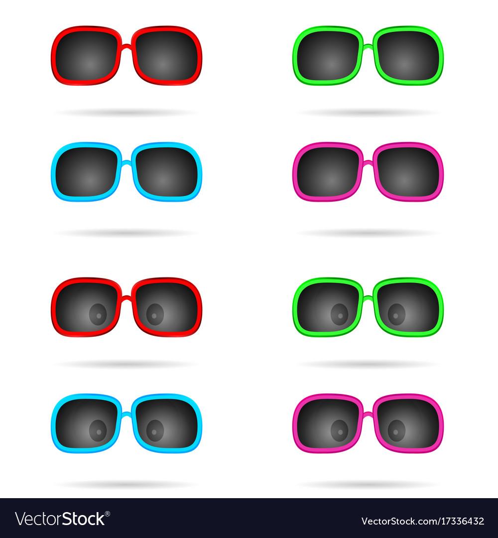 Sunglasses colored wiyh eyes set