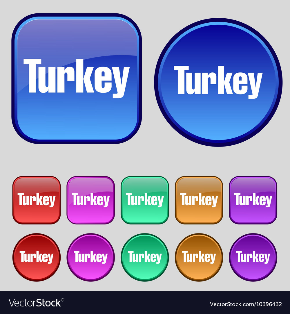 Turkey icon sign A set of twelve vintage buttons vector image