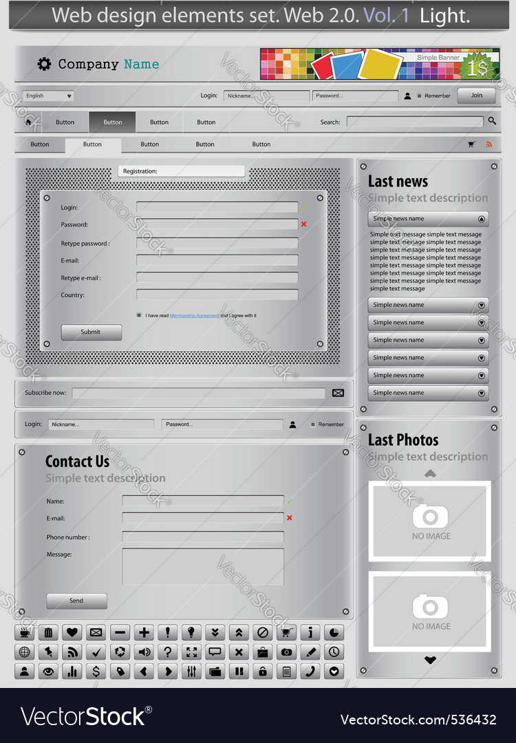 Web design elements set silver 1 vector