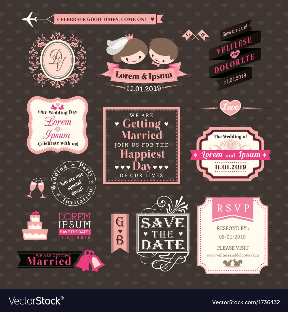 Wedding Elements labels and frames Vintage Style vector image