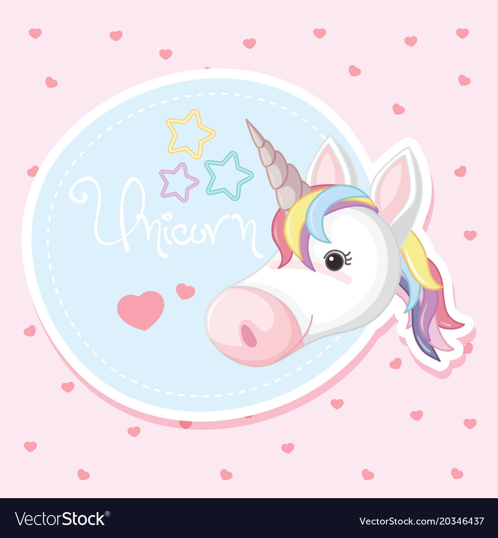Background Design With Cute Unicorn Royalty Free Vector