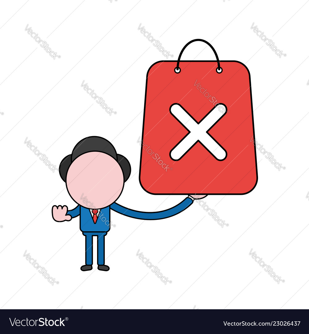 Businessman character holding shopping bag with x