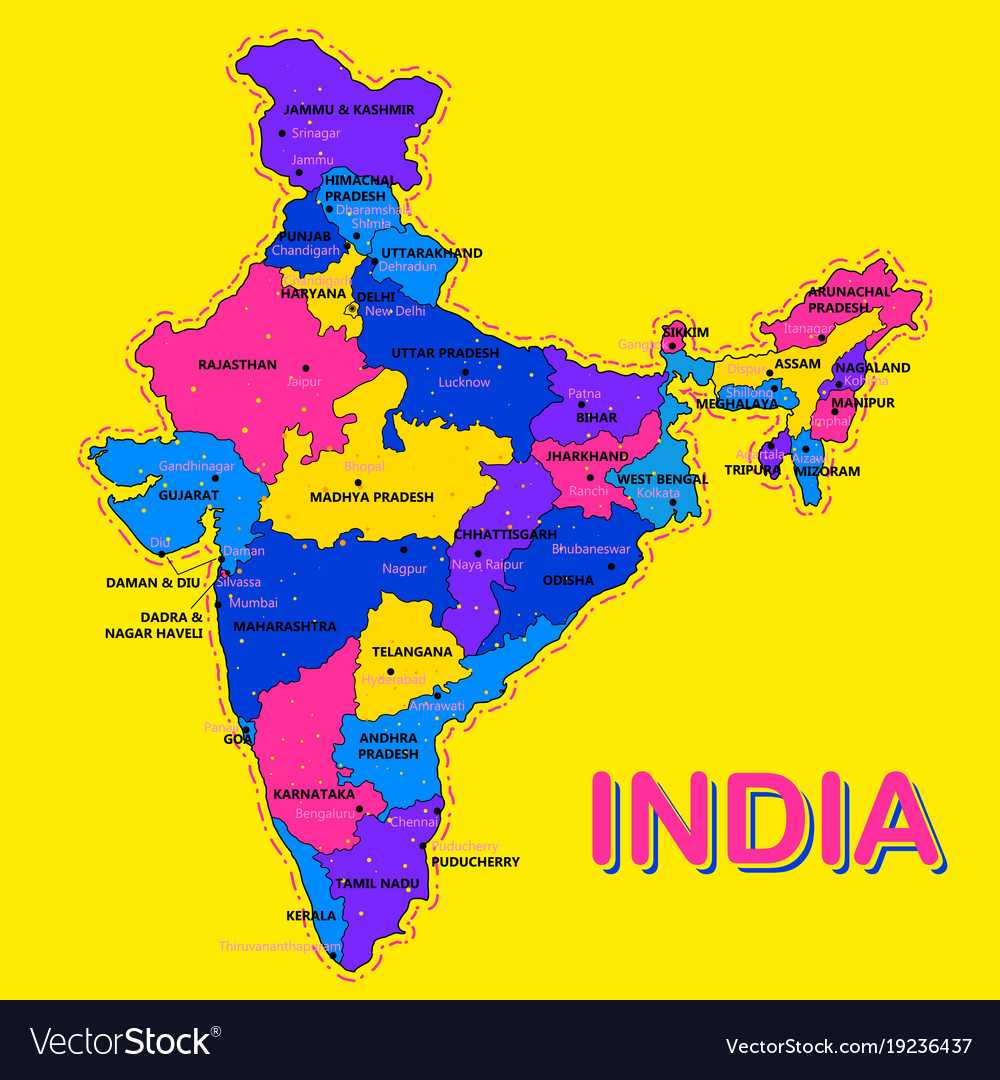 Detailed map of india asia with all states and