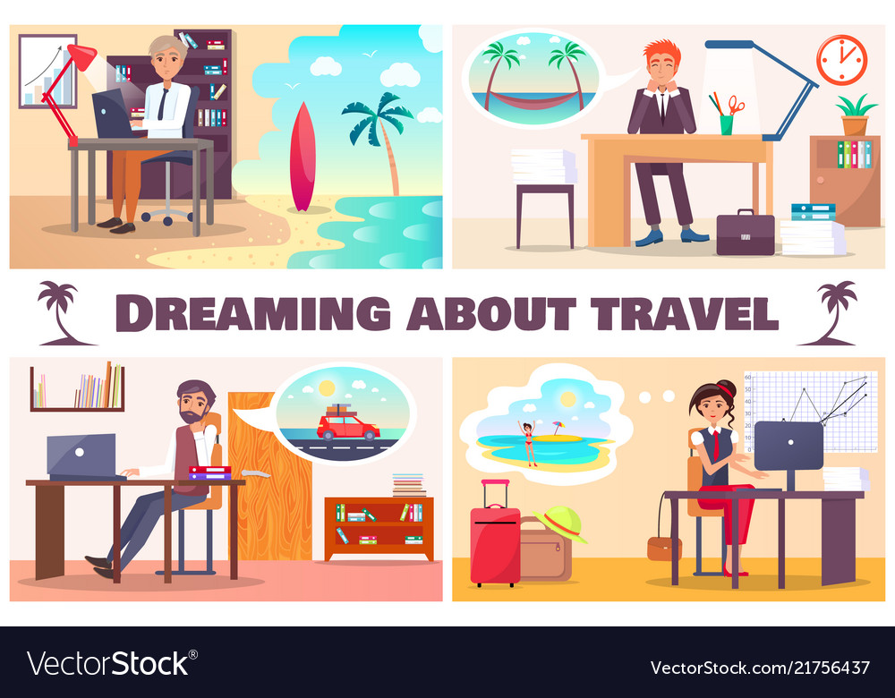 Dreaming about travel set of four cards