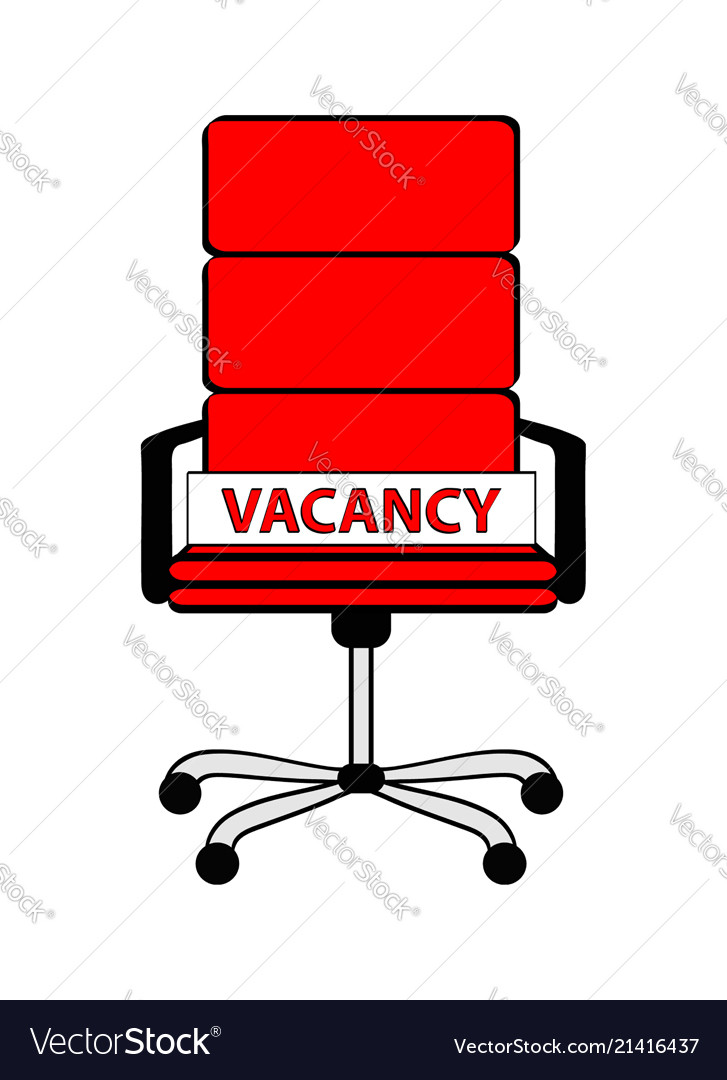 Empty red office chair and sign word vacancy