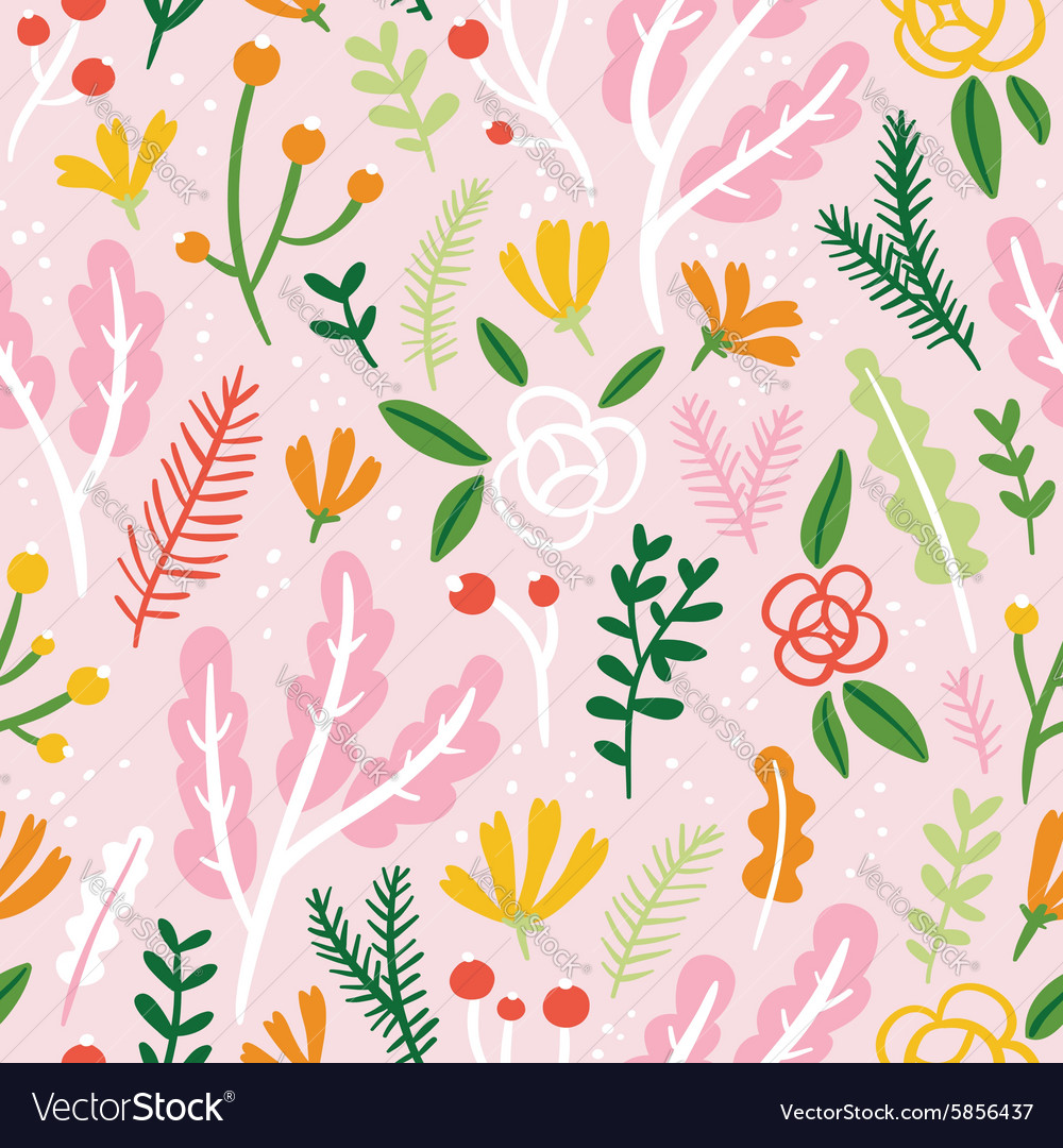 Flowers leaves and berries seamless pattern on
