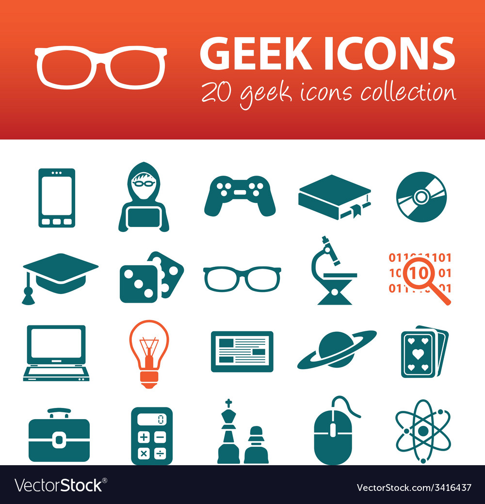 Geek icons vector image