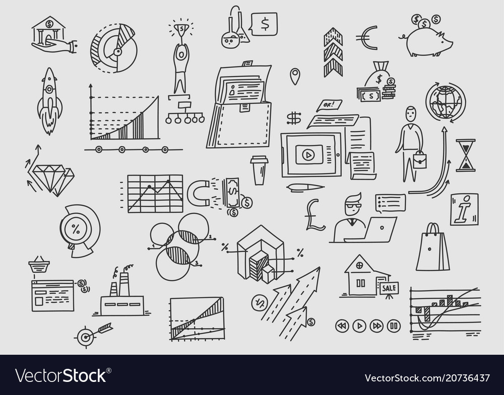 Planning office earnings development and vector image