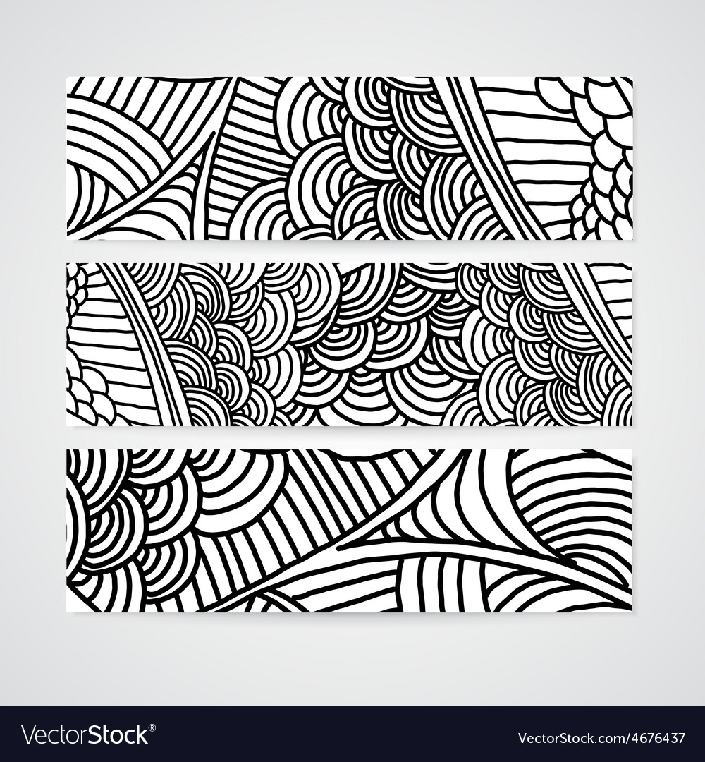 Set of abstract banner with hand drawn ornament vector image