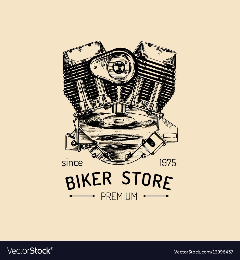 Vintage motorcycle repair logo with engine