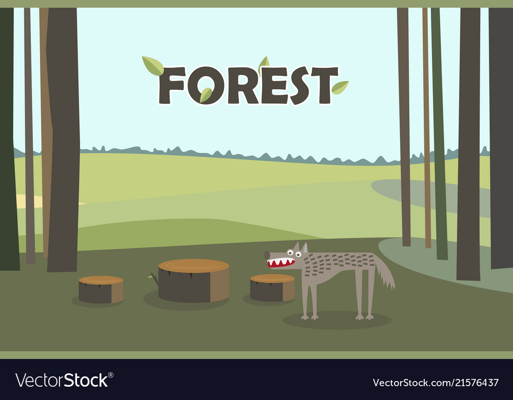 Wolf in forest tree stumps cartoon with