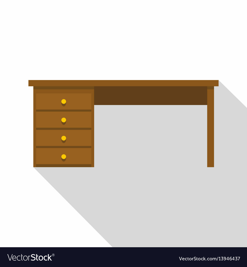 wooden office table. Wooden Office Desk Icon Flat Style Vector Image Table P