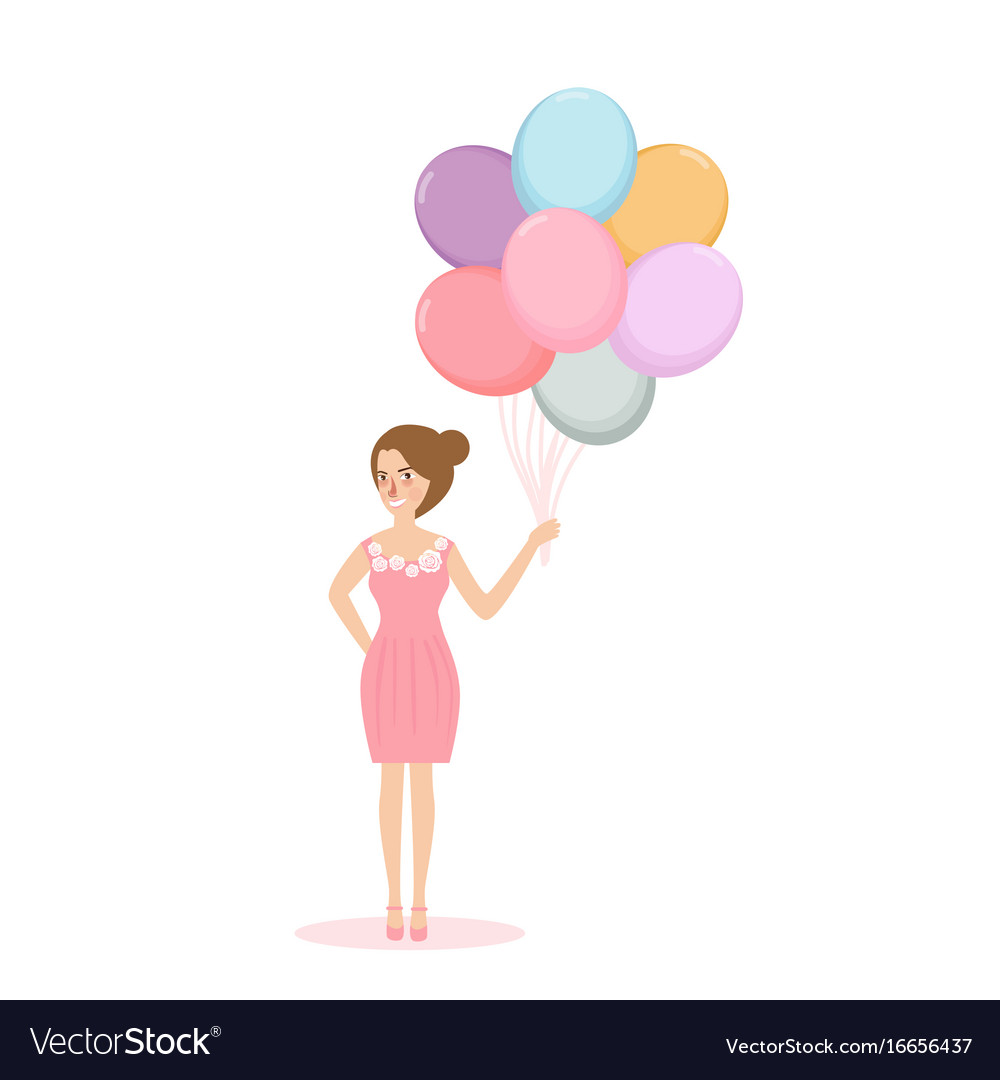 Young woman girl holding balloon concept of