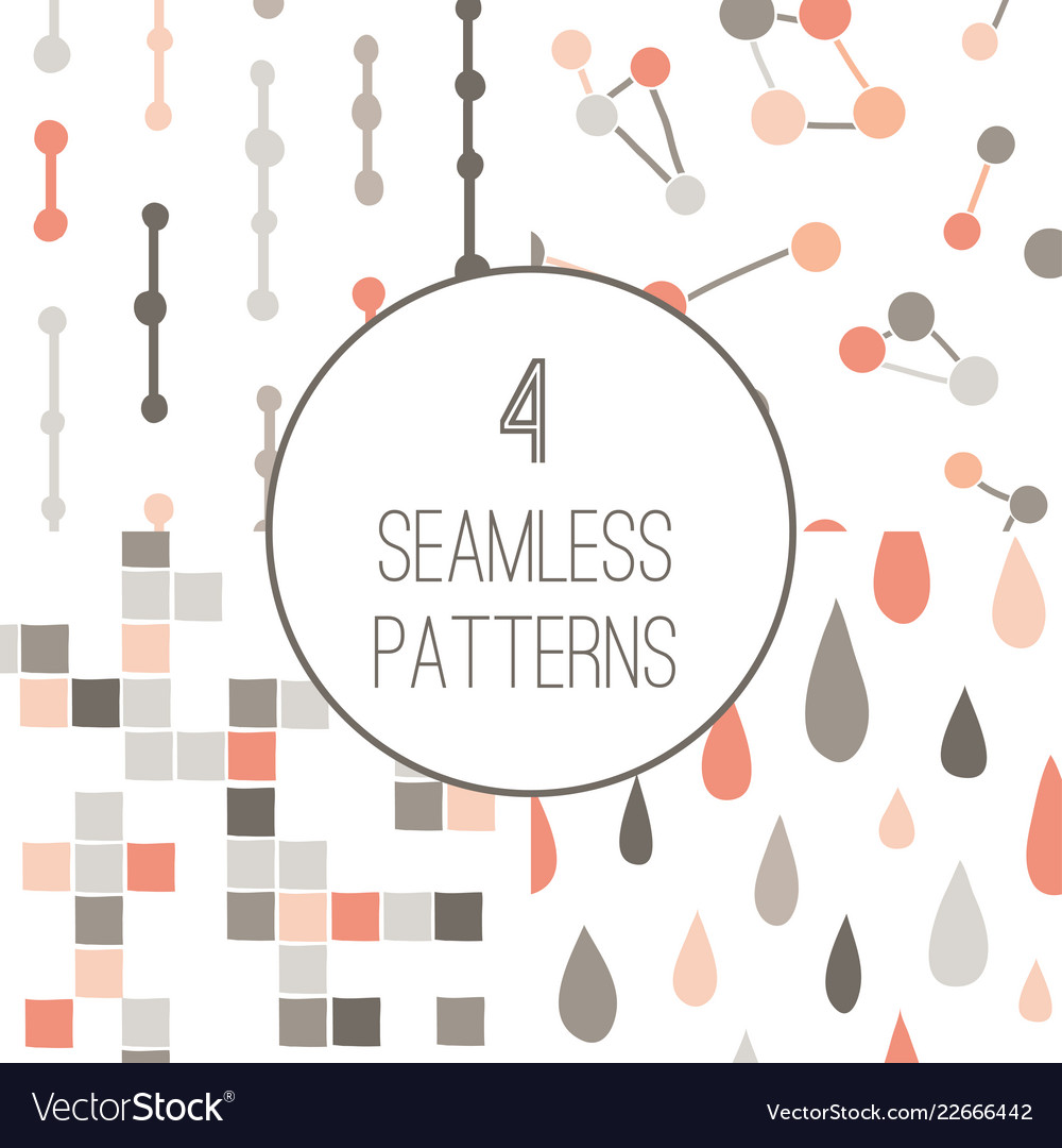 4 simple minimalistic seamless geometric patterns