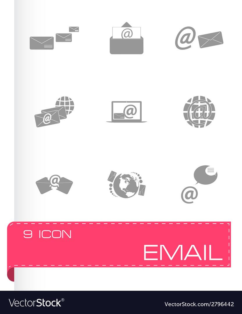 Black email icons set