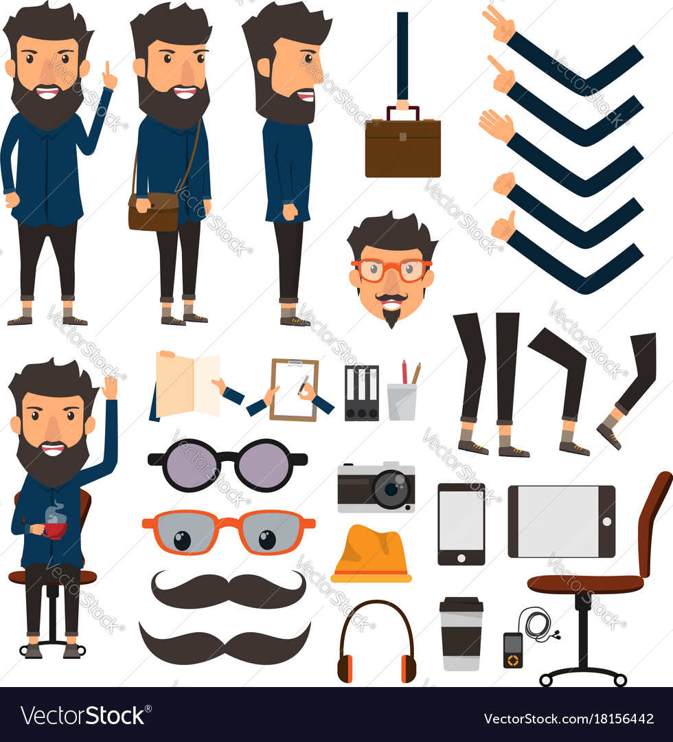 Business man in hipster style character with