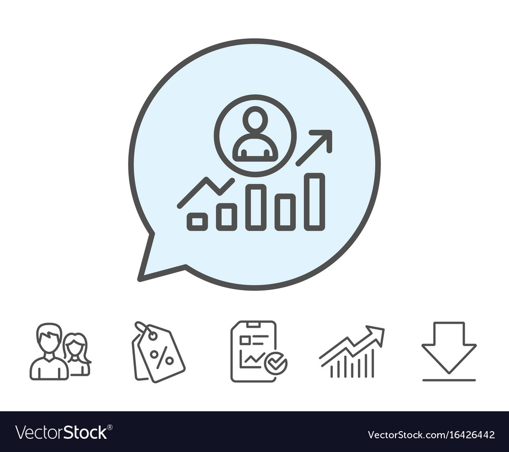 Business results line icon career growth chart