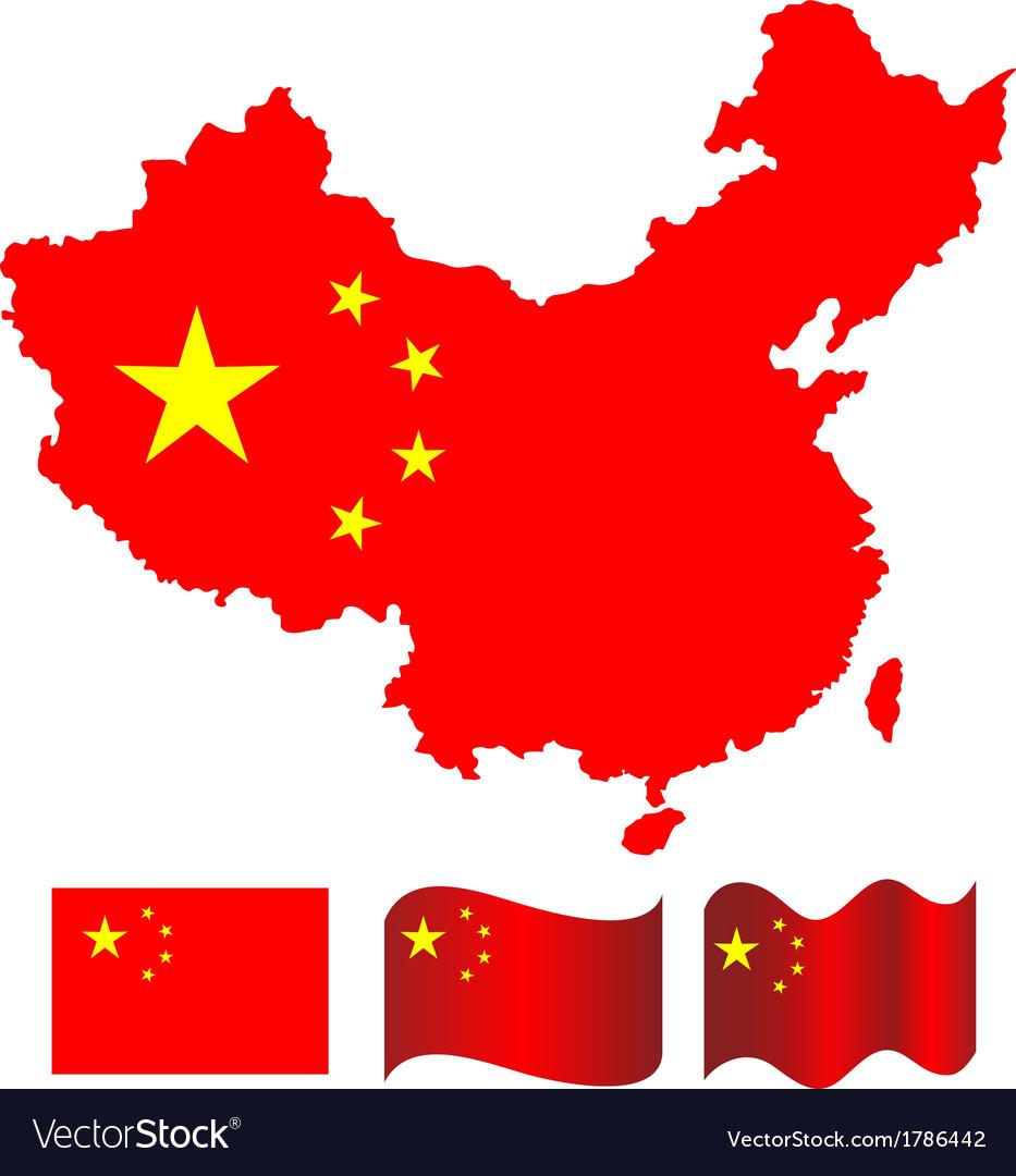 China map and flag of China vector image