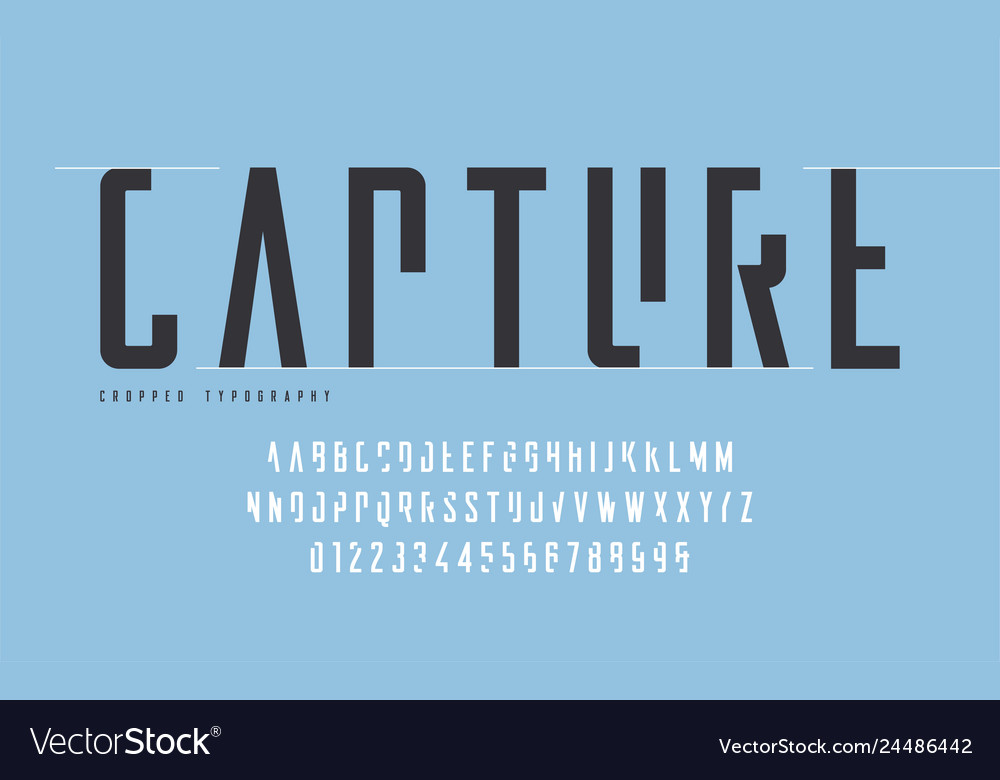 Cropped typography set of uppercase letters and