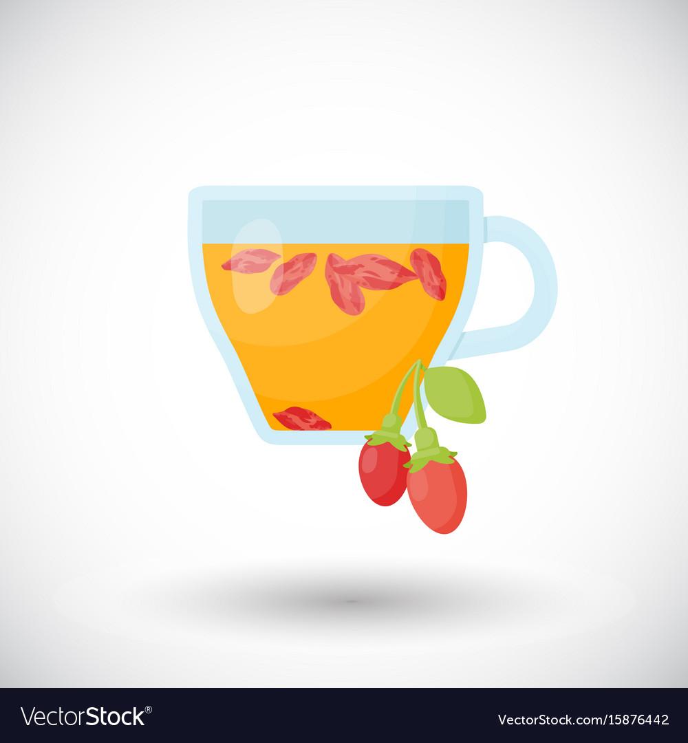 Goji berries tea flat icon