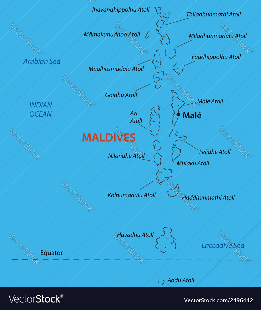 Republic of the Maldives - map Royalty Free Vector Image