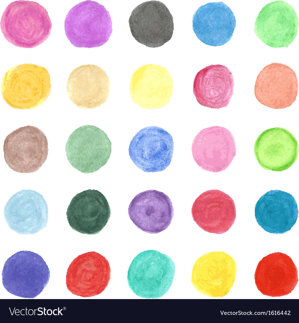Set of colorful watercolor hand painted circle