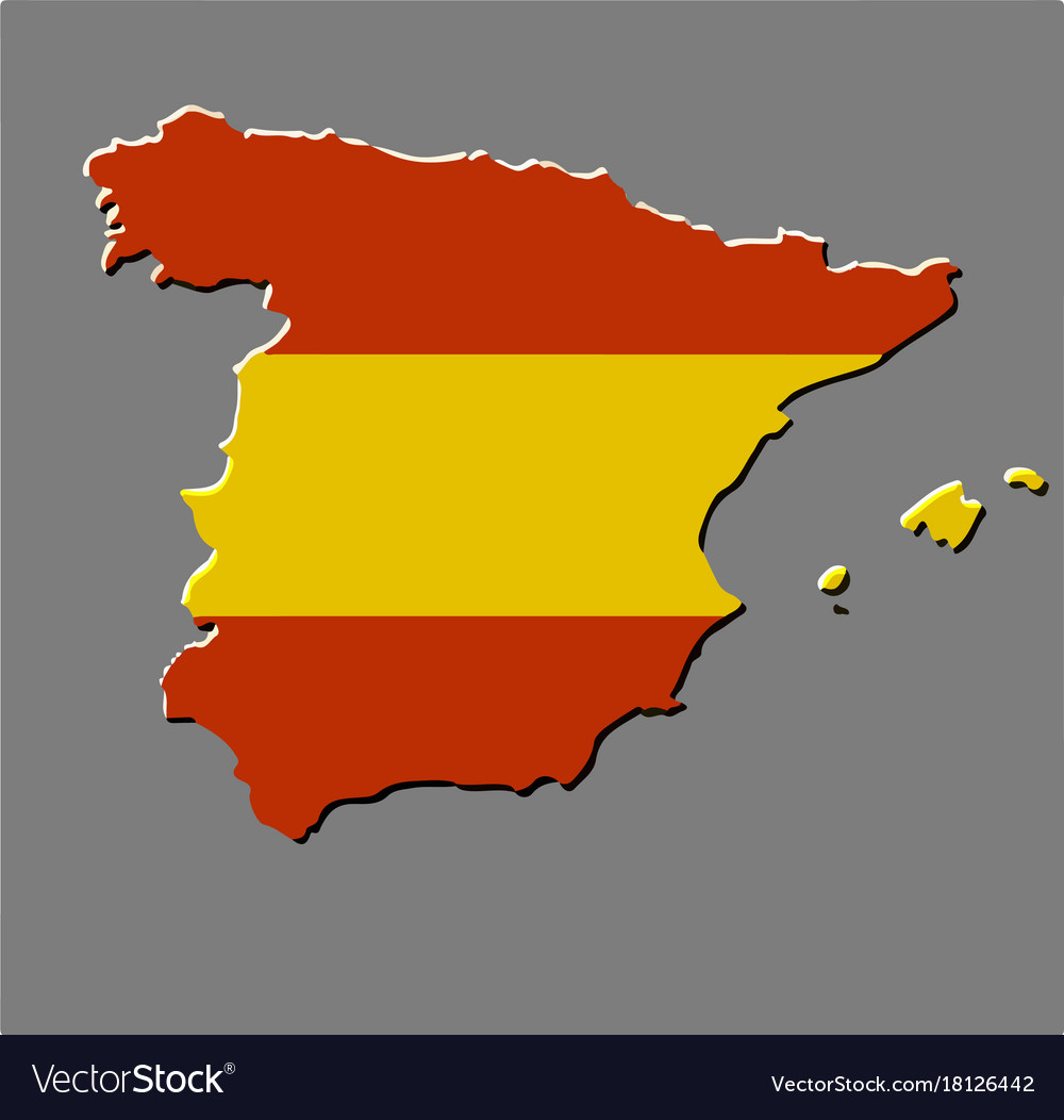 Spanish Map Of Spain.Spain Map With The Spanish Flag Royalty Free Vector Image