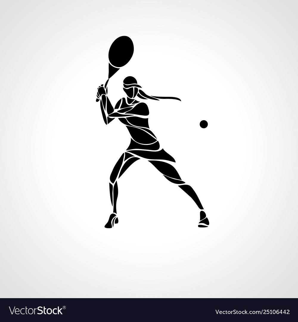 Tennis player female stylized abstract