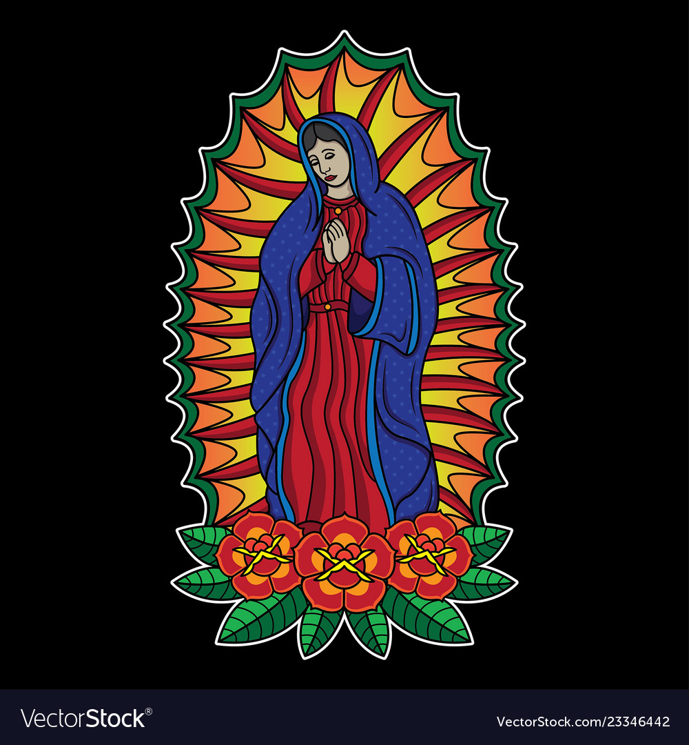 Traditional virgin mary tattoo