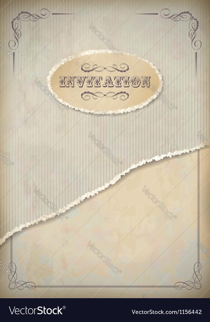 Vintage grunge invitation paper with frame