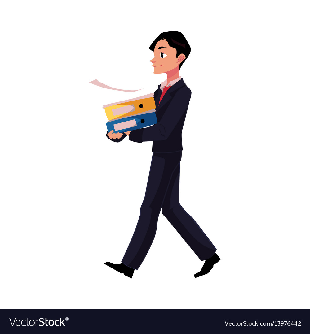Young businessman going somewhere carrying