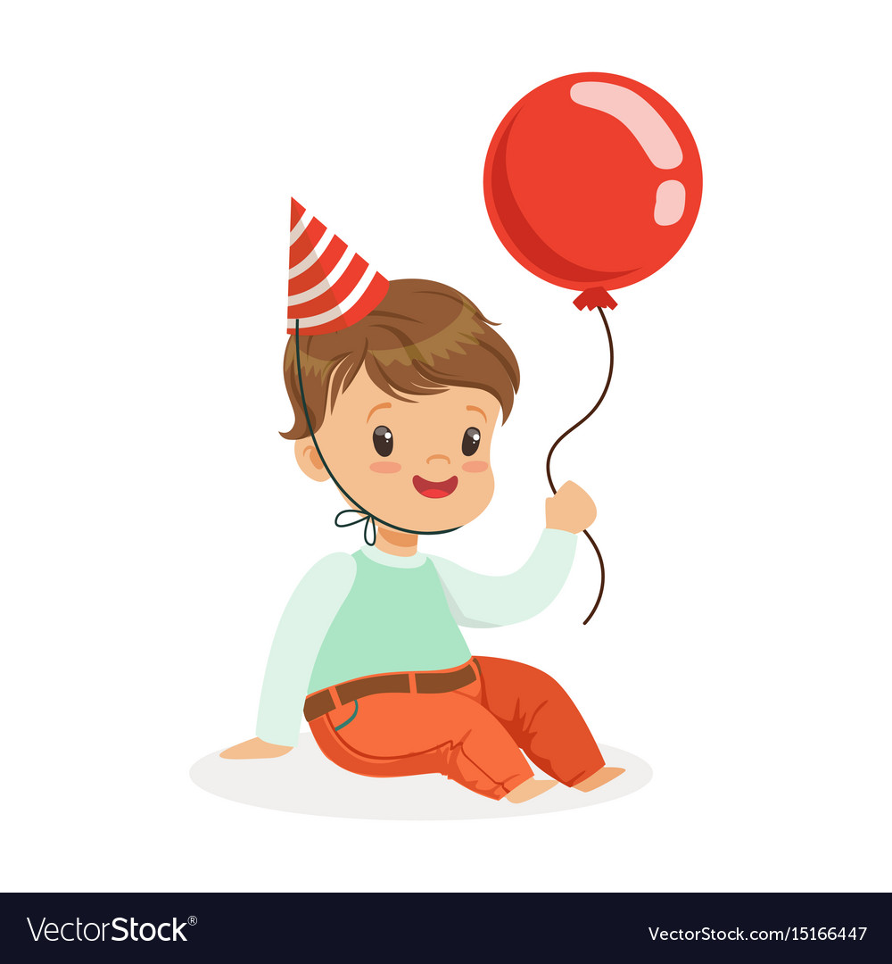 Adorable Baby Boy Wearing A Red Party Hat Sitting Vector Image