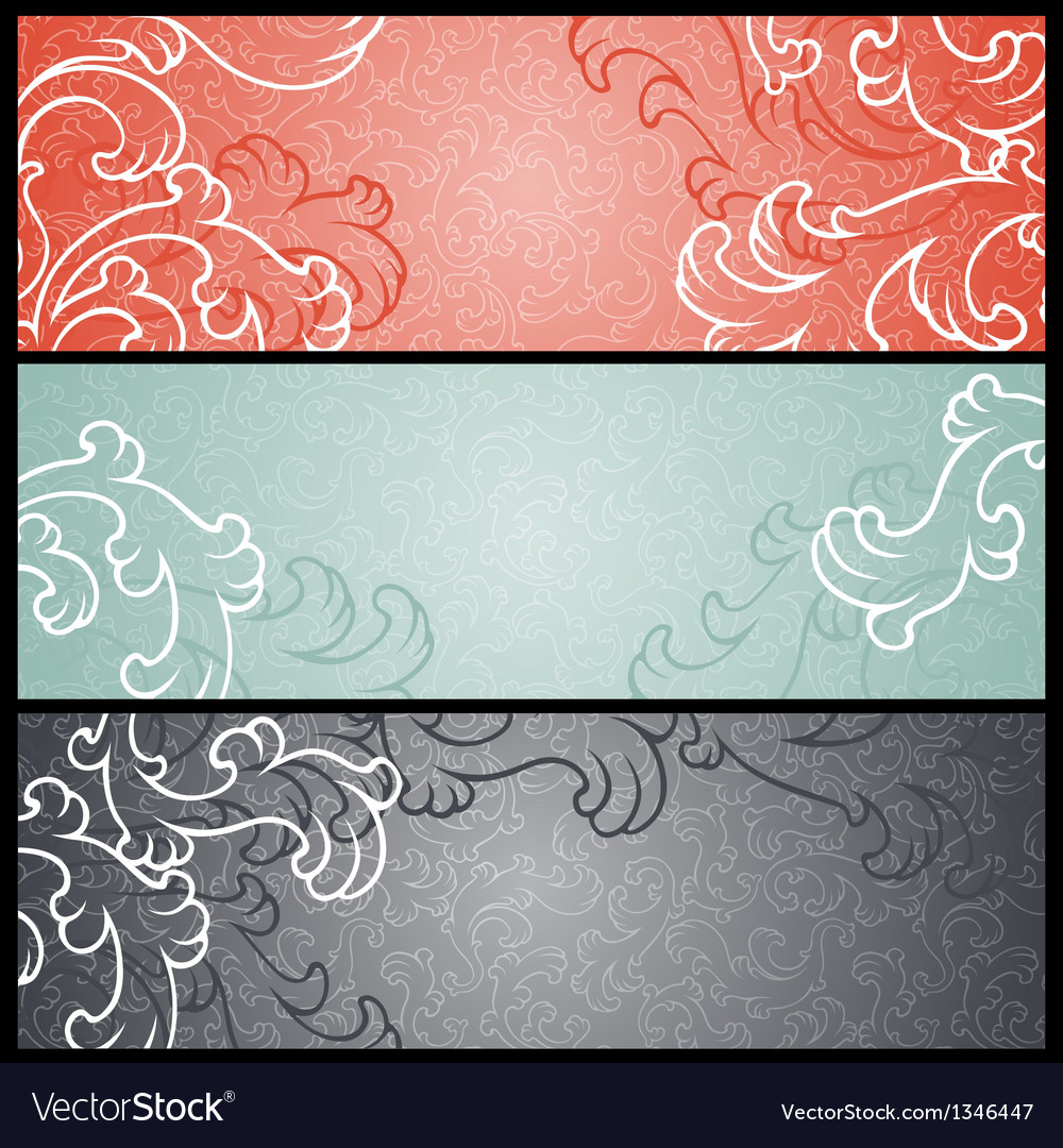 Banners with floral pattern in retro style