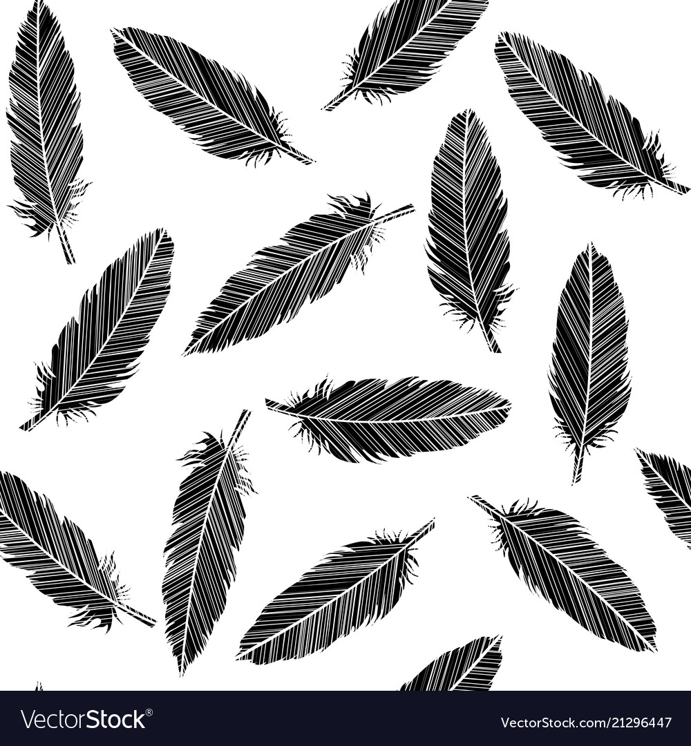 Birds feathers seamless in black and white