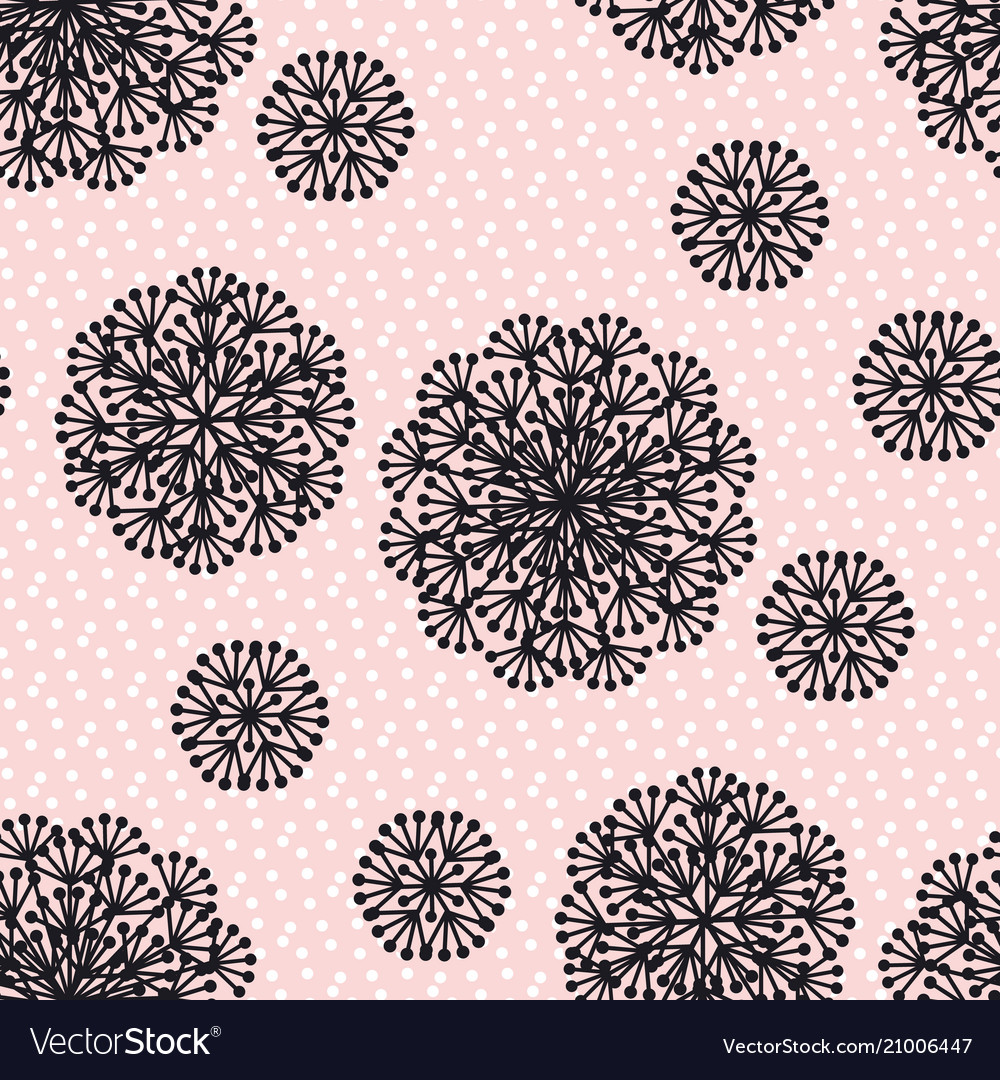 Black and rosy abstract dandelion flowers