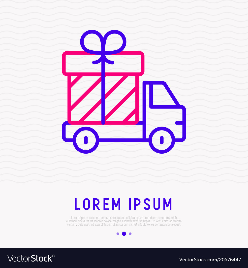 Delivery truck with gift box thin line icon