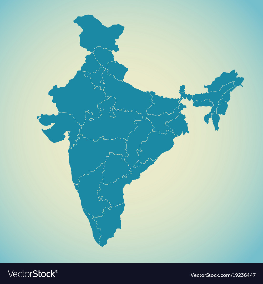 India In Asia Map.Detailed Map Of India Asia With All States And Vector Image