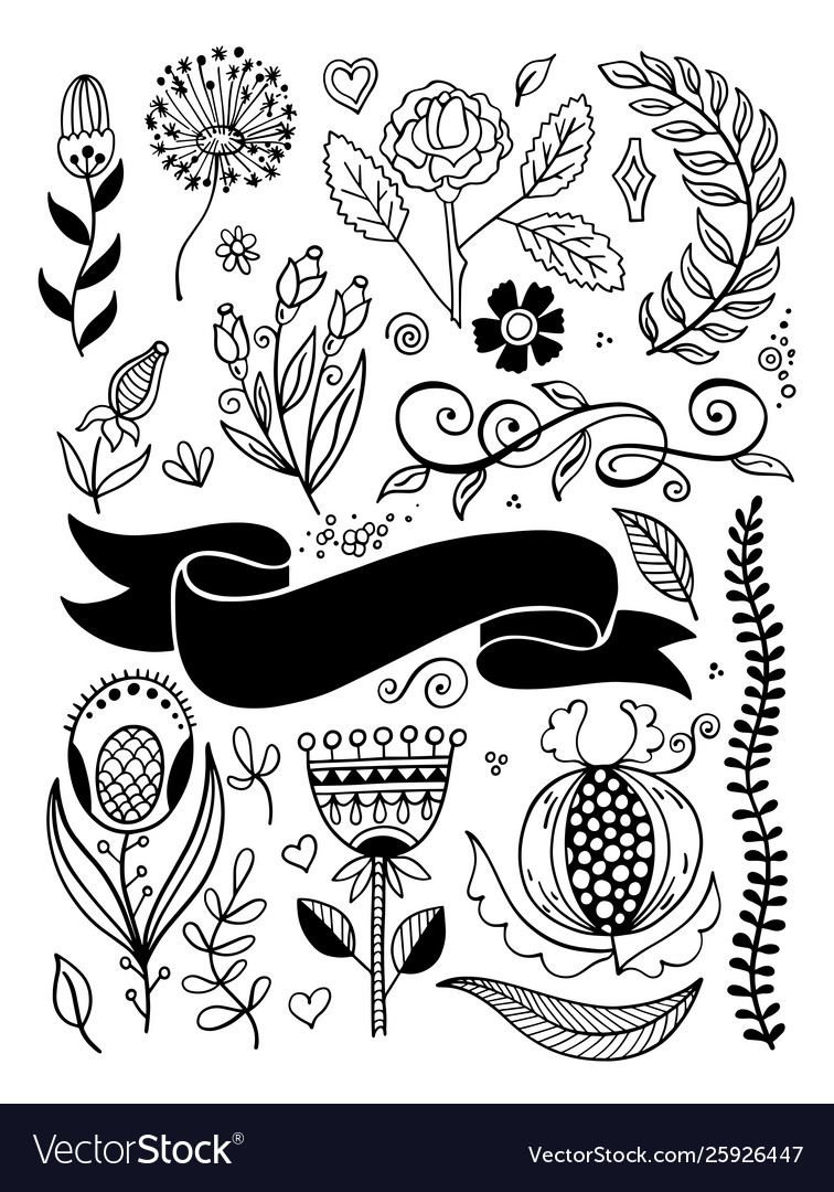 Doodle flowers branches border and ribbon sketch