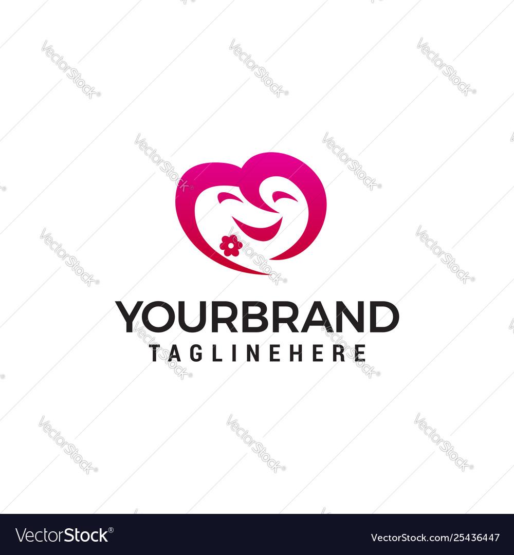 Face cute heart emoji logo design concept template
