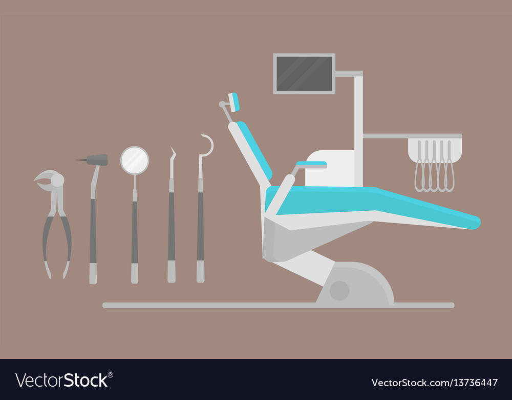 Flat health care dentist chair research medical
